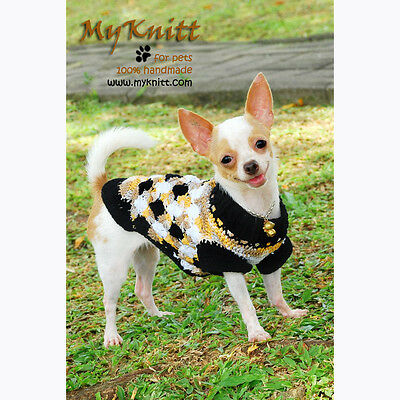 Black White Casual Handmade Knit Crochet Dog Pet Sweater Shirts Clothes DK820