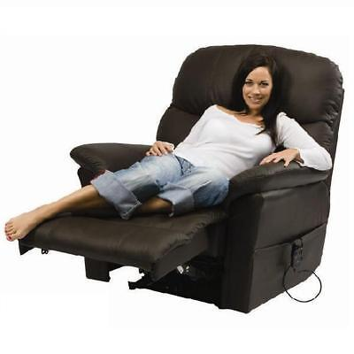 Glymur Black Leather Electric Rise and Recliner Chair