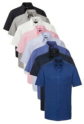 Russell Plain Cotton Blend Easy Care Iron Mens Short Sleeve Oxford Shirt