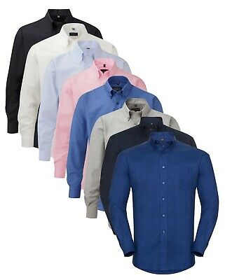 Russell Cotton Blend Easy Care Iron Mens Oxford Long Sleeve Business Shirt