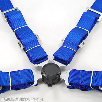 """2"""" Inch 4 Point Quick Release Seat Belt Harness (Blue) with Brackets"""