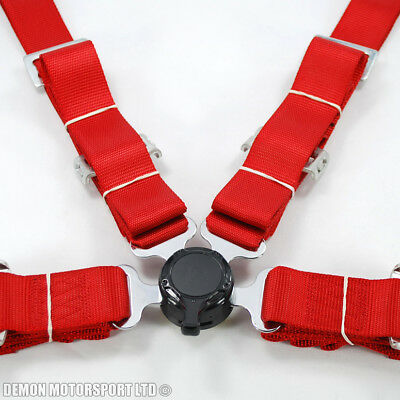 "2"" Inch 4 Point Quick Release Seat Belt Harness (Red) with Brackets"
