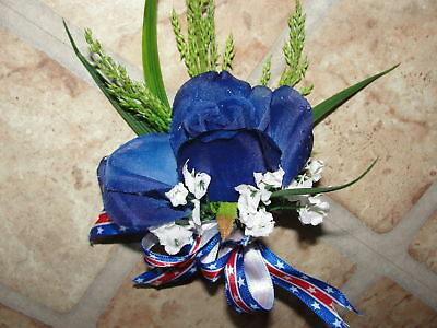 Corsages & Boutineers Custom Pin-on Silk Patriotic Bow Ribbon Proms Ceremony