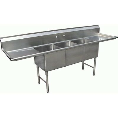 """3 Compartment Stainless Steel Sink 2 Drainboard 10""""x14"""""""
