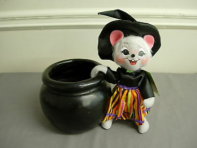 ANNALEE HALLOWEEN CANDY CAULDRON MOUSE CANDY CONTAINER