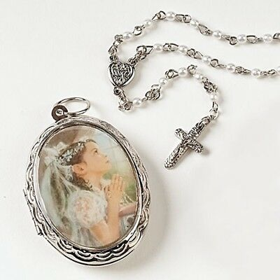 First Communion Rosary w/ Locket for Girls