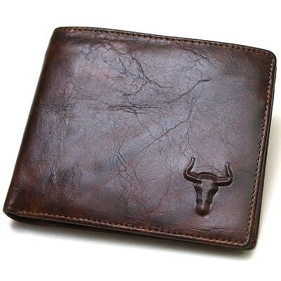 New Genuine Leather Mens Wallet  ZIPPER Coin Purse Vintage Retro Style