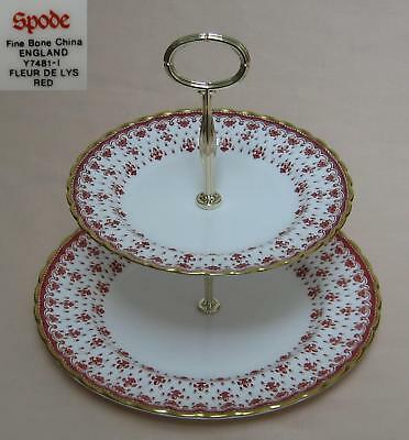 "Spode ""Fleur De Lys"" (Red) TWO TIER CAKE STAND"