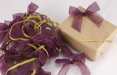 50 X Plum Organza Gift Wrapping Bows Wedding Christmas