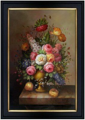 Framed Hand Painted Oil Painting Still Life Flower Arrangement 24x36in