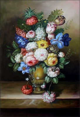Hand Painted Oil Painting Still Life with Floral Arrangement 24x36in