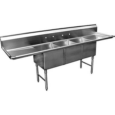 """3 Compartment Bakery Depth Sink 20""""x28"""" 2 Drainboard"""