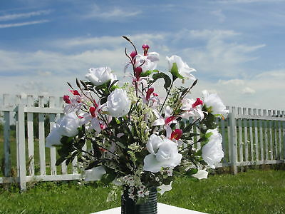 Headstone Grave Flower Silk Japanese Pink Orchids Roses