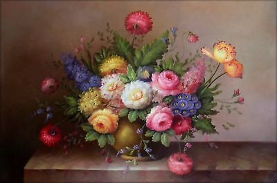 Hand Painted Oil Painting Still Life with Colorful Flowers 24x36in