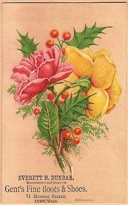 Victorian Trade Card: Everett H Dunbar Shoes - Lynn, MA