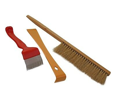 Beekeeping Brush, Yellow Hive Tool & Cranked Tine Uncapping Fork Hive Tool