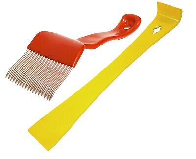 Beekeeping Yellow Hive Tool & Stainless Steel Straight Tine Uncapping Fork