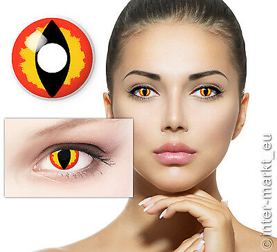 Farbige Crazy Halloween Karneval Kontaklinsen Contact Lenses - Dragon Eye !