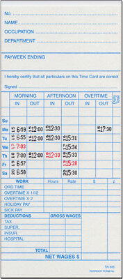 Tr-895 Time Cards For St-1000 Time Clock (500 Cards)