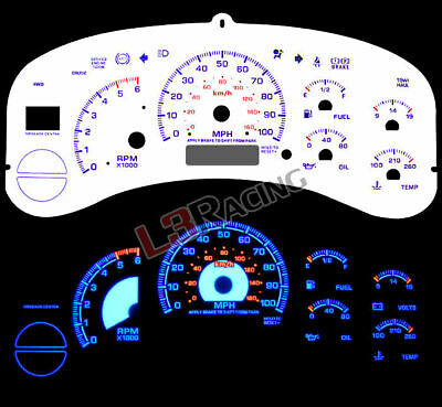 White Face Reverse Indiglo Glow Gauge MPH Kit For 99-02 C/K 1500 Silverado