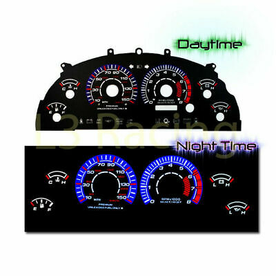 White Face Reverse Indiglo Glow Gauge MPH Kit For 99-04 Ford Mustang GT V8