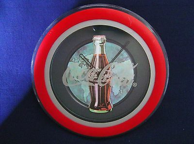 """Coca Cola Bottle Battery Wall Clock Advertising 11 3/4"""" Dia"""