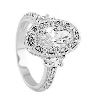 Silver Antique Milgrain Oval Setting CZ Engagement Ring