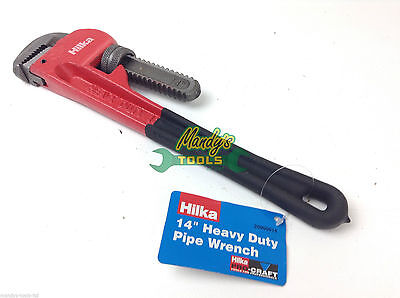 """HILKA Pipe Wrench 14"""" Stilson Monkey Wrench Drop Forged Red & Black Heavy Duty"""