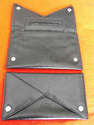 BLACK TOBACCO POUCH  FAUX LEATHER V shape front (17801)