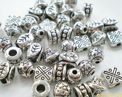 90 x Mixed Large Tibetan Silver Lead Free Beads, 50g