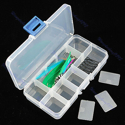 New Clear Compartments Plastic False Nail Tips Storage Box