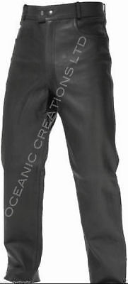 Mens Black Real Leather Cowhide Motorcycle Motorbike Jeans Trousers