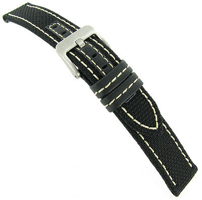 18mm Hadley Roma White Stitched Kevlar Black Genuine Leather Watch Band Mens 848