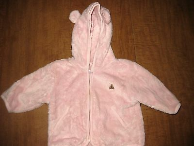 BABY GAP pink hooded shirt 3-6 mos. Bear embroidery