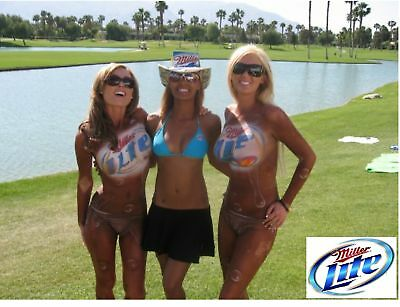 Miller Lite Beer Body Paint Girls Refrigerator / Tool Box  Magnet