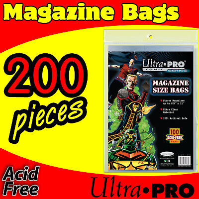 200 Magazine Size Comic Storage Sleeves Bags Acid Free