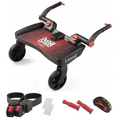 Lascal MAXI BuggyBoard with Universal Connectors fits 99% of pushchairs - RED