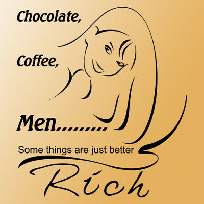 Chocolate coffee men wall quote saying phrase black
