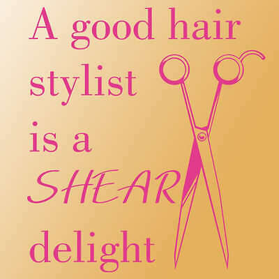 Good hair stylist wall sticker decal lettering quote saying phrase pink letter