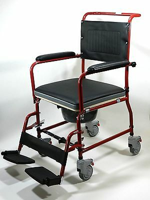 Commode Wheelchair, Mobile Bedside Toilet, Shower Chair All in One Full Function