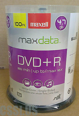 DVD+R Disc 100 Pack 16X 4.7GB Maxell Blank Disk NEW