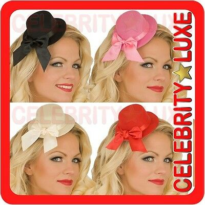 Burlesque Fascinator Moulin Rouge Mini Top Hat with Bow