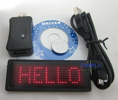 RED LED Programmable Scrolling Name Badge Tag Message