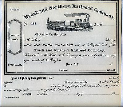 Nyack & Northern Railroad Co. Stock Certificate RR