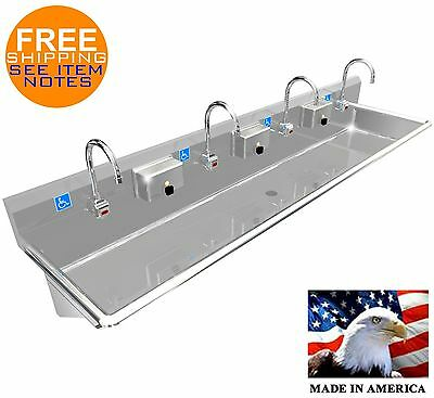 "Ada 4 Users 80"" Hand Wash Sink Elec. Faucet Hands Free Made In Usa Stainless St."
