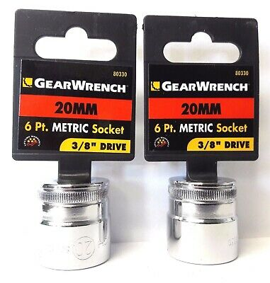 """Gearwrench 80330 3/8"""" Drive 20mm 6 Point Socket 2PCS"""