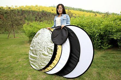 """5 in 1 43"""" Photography Studio Multi Photo Disc Collapsible Light Reflector 110cm"""