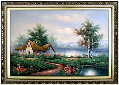 Framed Hand Painted Oil Painting Landscape with Riverside Cottage 24x36in