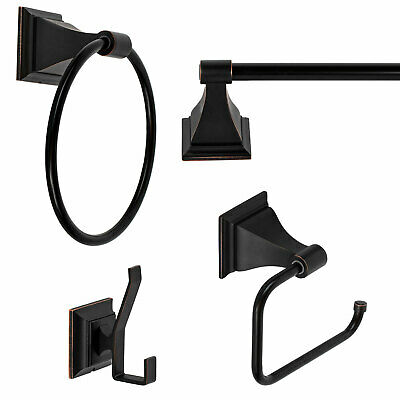 "Oil Rubbed Bronze Bath Accessories 24"" Towel Bar Accessory Set"
