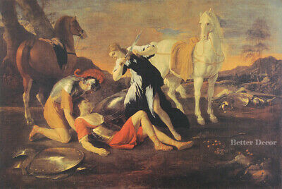 "24"" PRINT Tancred & Erminia,1631 by Poussin ANTIQUE MUSEUM ART - HORSE ANIMALS"